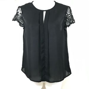 Shein black sheer blouse with crochet sleeves